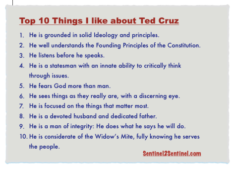 Top Ten Cruz List